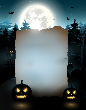 Halloween poster with old empty paper