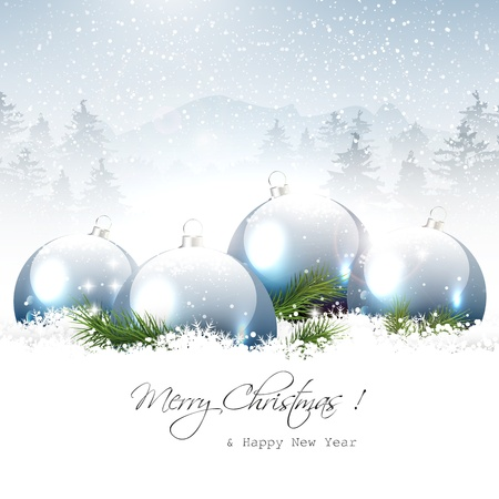 Illustration for Christmas baubles in winter landscape - vector background - Royalty Free Image