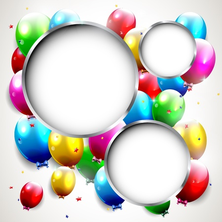 Ilustración de Luxury birthday background with colorful balloons and copyspace   - Imagen libre de derechos