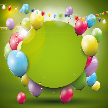 Ilustración de Sweet birthday background with flying balloons and place for text - Imagen libre de derechos