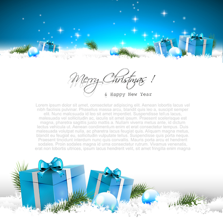 Illustration pour Blue Christmas greeting card with gift boxes and branches in snow and with place for text - image libre de droit