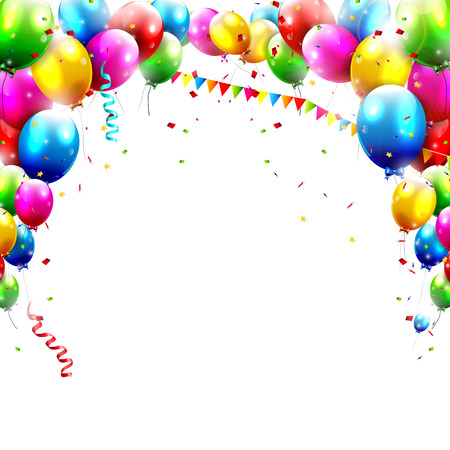 Ilustración de Coloful birthday balloons isolated on white background  - Imagen libre de derechos