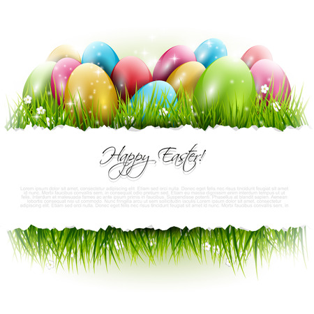 Illustration pour Easter background with eggs in grass and with copyspace - image libre de droit