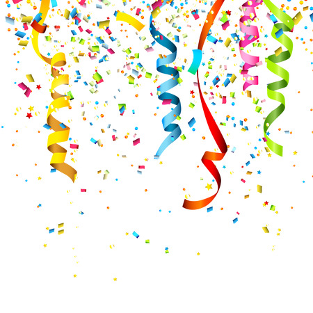 Ilustración de Colorful confetti isolated on white background - Imagen libre de derechos