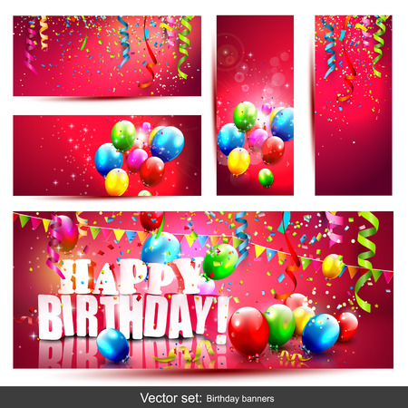 Illustration pour Vector set of five colorful birthday banners with confetti and balloons - image libre de droit