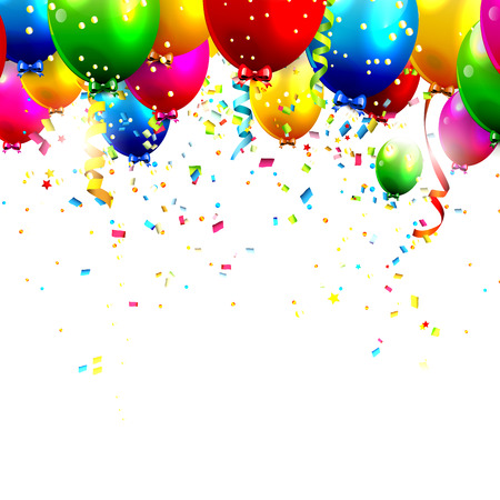 Illustration pour Colorful birthday balloons and confetti  - image libre de droit