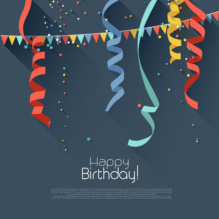 Illustration pour Birthday background with colorful confetti - modern flat style  - image libre de droit