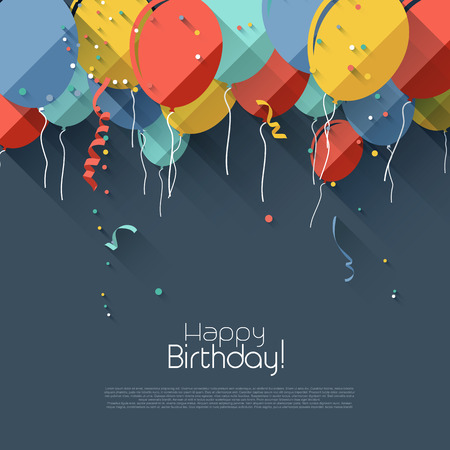 Illustration pour Colorful birthday background in flat design style  - image libre de droit