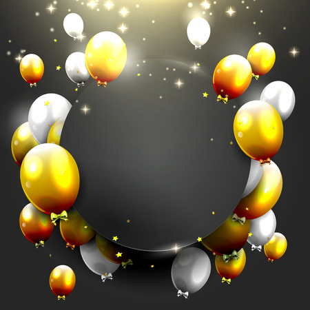 Illustration for Luxury background with gold and silver balloons on black background - Royalty Free Image