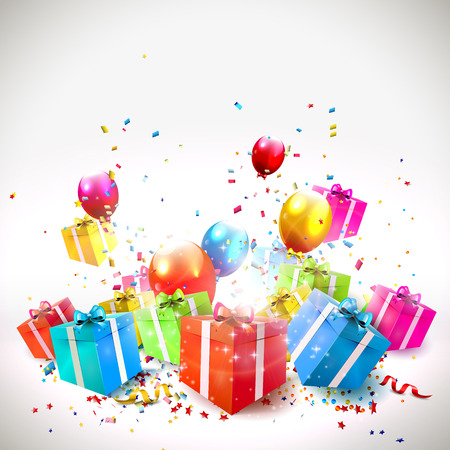 Illustration pour Celebrate background with gift boxes, confetti and balloons  - image libre de droit