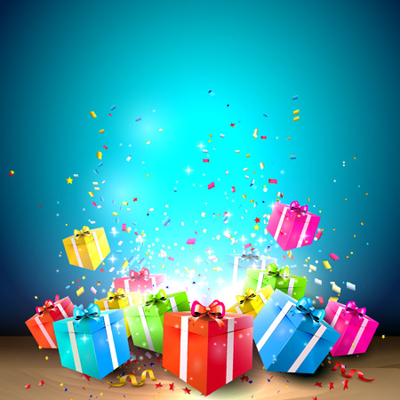 Illustration pour Celebrate background with gift boxes and confetti  - image libre de droit