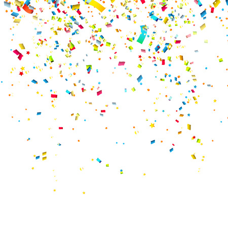 Ilustración de Colorful confetti on white background - Imagen libre de derechos