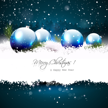 Illustration pour Christmas greeting card with baubles and branches in snow  - image libre de droit