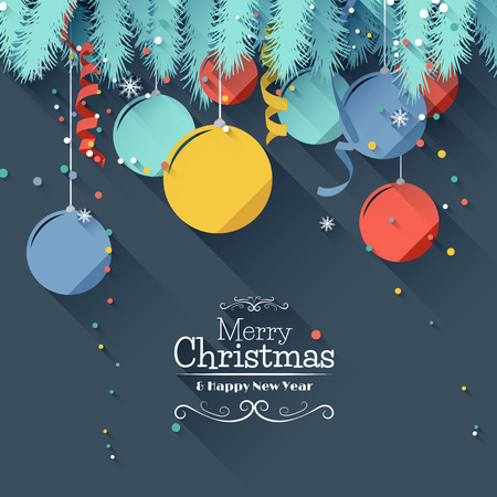 Illustration pour Modern Christmas greeting card - flat design style - image libre de droit