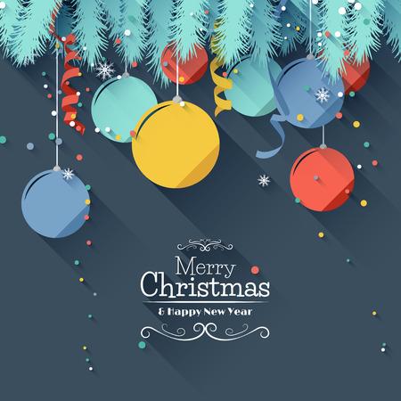 Ilustración de Modern Christmas greeting card - flat design style - Imagen libre de derechos
