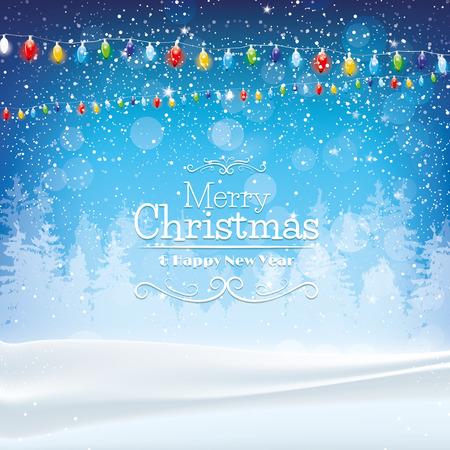 Ilustración de Blue Christmas background with lights and snow - Imagen libre de derechos