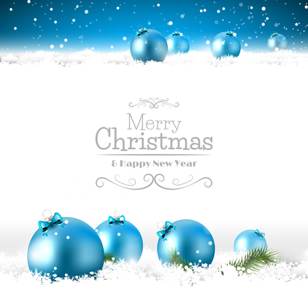 Illustration pour Blue Christmas greeting card with baubles in the snow - image libre de droit