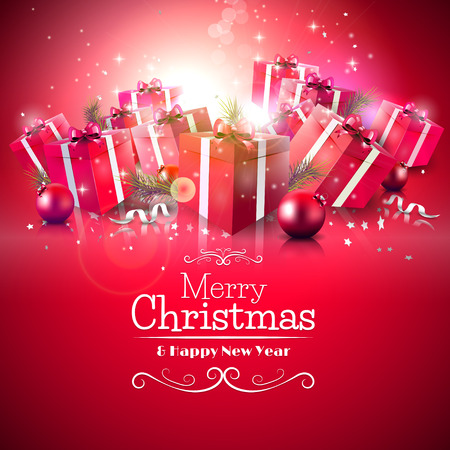 Ilustración de Luxury Christmas greeting card with red gift boxes and calligraphic lettering - Imagen libre de derechos
