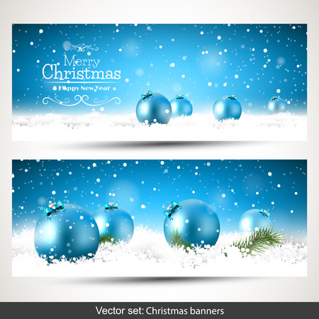 Illustration for Vector set of two Christmas banners with blue baubles in the snow - Royalty Free Image