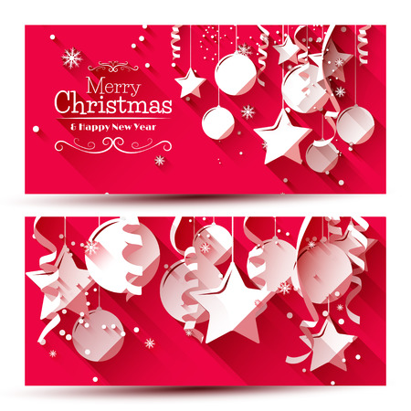 Illustration pour Vector set of two christmas banners with paper decorations on red background - image libre de droit