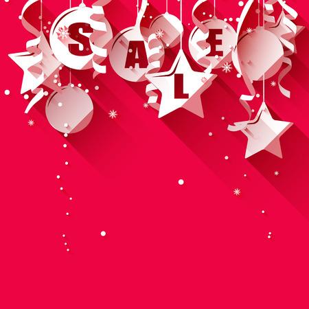 Illustration pour Christmas sale - paper decorations on red background - flat design style - image libre de droit