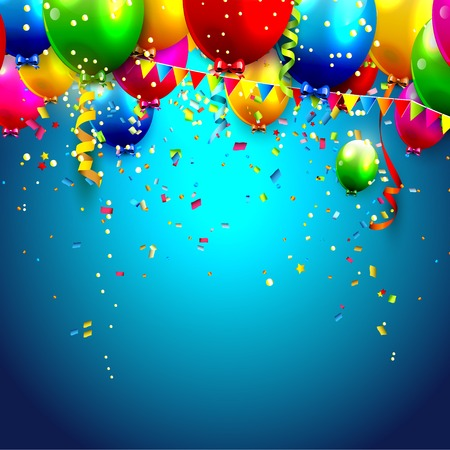 Illustration pour Colorful balloons and confetti - vector background - image libre de droit