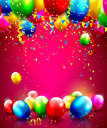 Ilustración de Colorful balloons and confetti - vector background with place for your text - Imagen libre de derechos