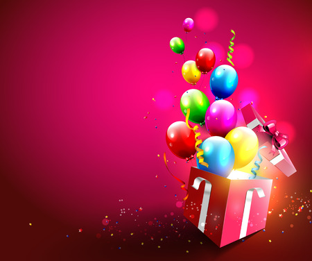 Illustration pour Colorful balloons and confetti flying out of gift box - image libre de droit
