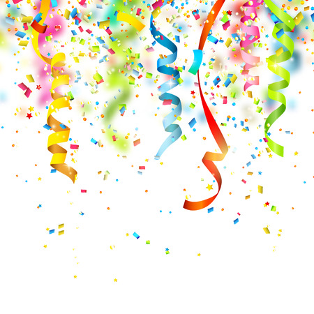 Ilustración de Birthday background with colorful confetti - Imagen libre de derechos