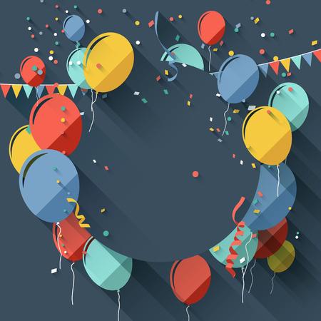 Ilustración de Birthday greeting card with place for text - flat design style - Imagen libre de derechos