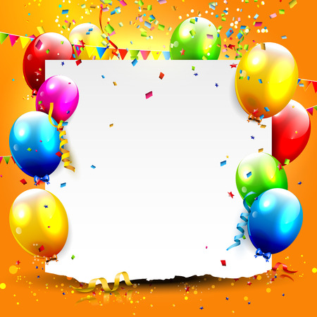 Illustration for Birthday background with colorful balloons and place for your text - Royalty Free Image