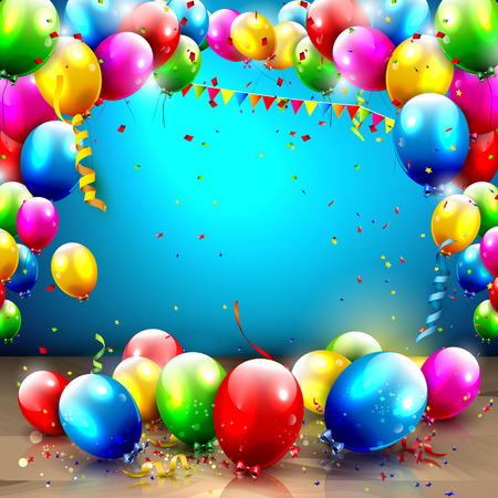 Ilustración de Birthday background with colorful balloons and place for your text - Imagen libre de derechos