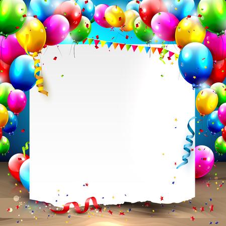 Ilustración de Birthday background with colorful balloons and place for your text - Imagen libre de derechos