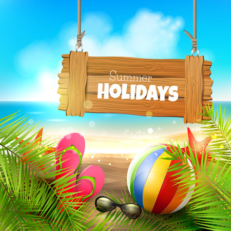 Illustration pour Summer holidays - background with wooden sign on the beach - image libre de droit