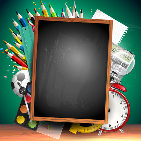 Foto de School background with school supplies and empty blackboard with place for your text - Imagen libre de derechos