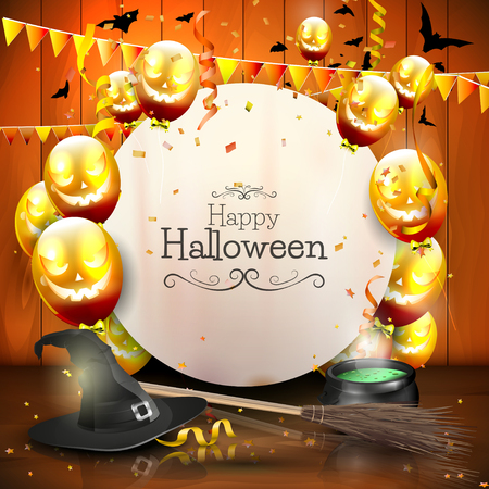 Illustrazione per Halloween background with balloons and empty paper. - Immagini Royalty Free