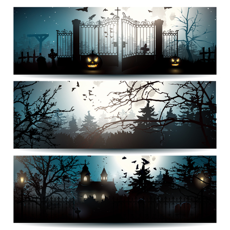Illustrazione per Vector set of three Halloween horizontal banners - Immagini Royalty Free