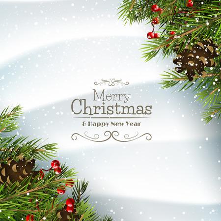 Ilustración de Christmas greeting card with branches,pinecones and berries on the snow - Imagen libre de derechos