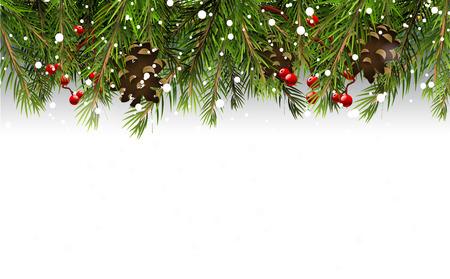 Ilustración de Christmas border with branches,pinecones and berries on white background - Imagen libre de derechos