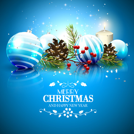 Illustration pour Christmas greeting card with traditional decorations and calligraphic lettering - image libre de droit
