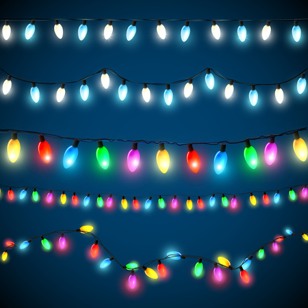 Illustration pour Vector set of Christmas lights - image libre de droit