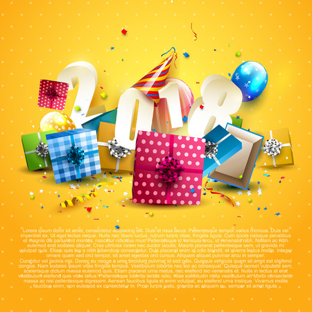 Illustration pour Happy New Year 2018 - Flyer with colorful gift boxes, balloons and party hat on orange background - image libre de droit