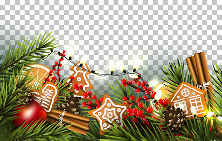 Illustration pour Christmas border with fir branches, traditional decorations and gingerbreads on transparent background - image libre de droit