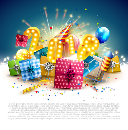Illustration pour Happy New Year 2018 - Flyer with colorful gift boxes, balloons and party hat on blue background - image libre de droit