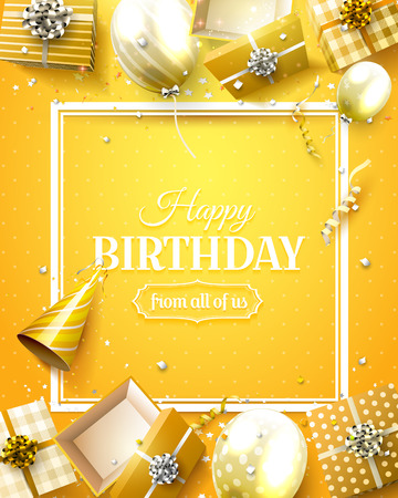 Ilustración de Luxury birthday template with orange confetti, birthday balloons and gift boxes. - Imagen libre de derechos