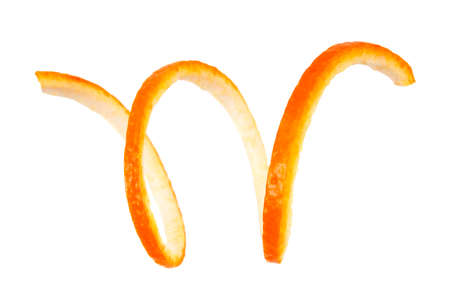 Photo for Spiral orange peel on a white background - Royalty Free Image