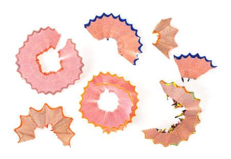 Photo pour Colorful pencil shavings isolated on white background - image libre de droit