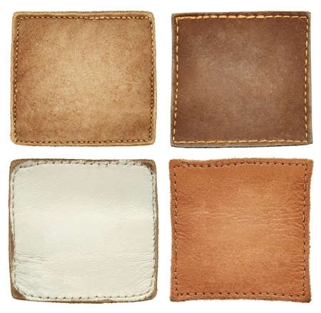 Blank square shape leather jeans labels.