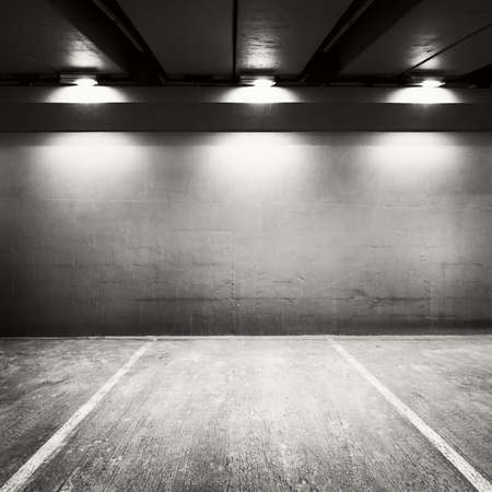Empty parking lot wall. Urban, industrial background.