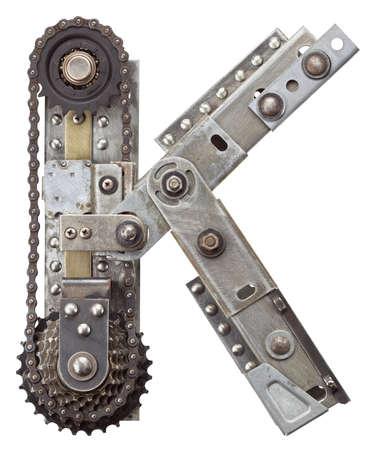 Industrial metal alphabet letter K